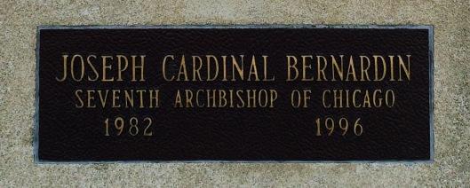 The plaque bearing Cardinal Joseph Bernardin's name outside the Bishops' Mausoleum.
