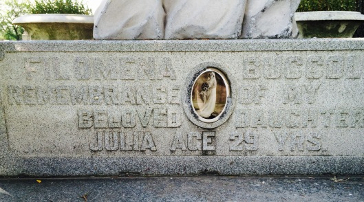 Oddly enough, Julia's name appears nowhere on her elaborate monument. But her mother's appears on it twice.