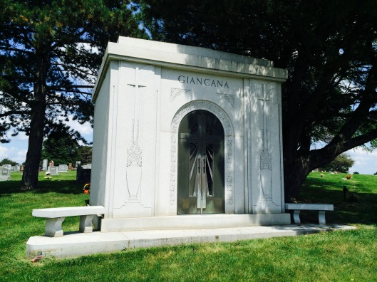 The Giancana family mausoleum is located on the far west side of the cemetery.