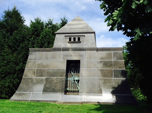 The Ryerson tomb is constructed from large blocks of highly polished Quincy granite and was inspired by Egyptian funerary traditions.