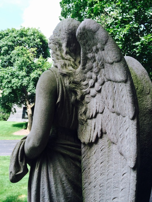 From this vantage point, it looks like the angel is looking over at the Ryerson tomb.