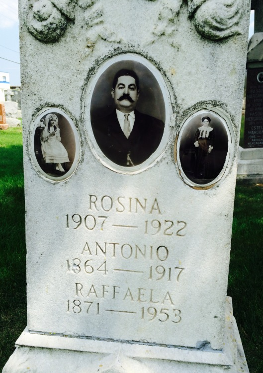 The Angelico family monument features father Antonio, mother Rafaella and daughter Rosina.