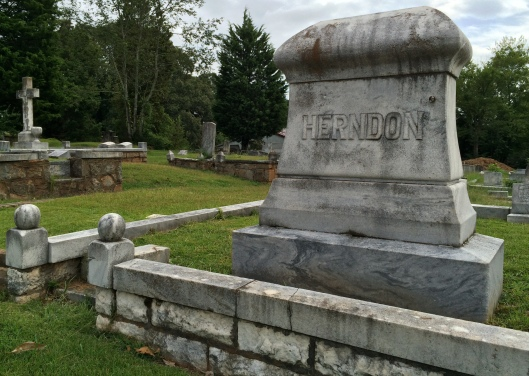The Herndon family plot is located toward the Northeast area of the cemetery.