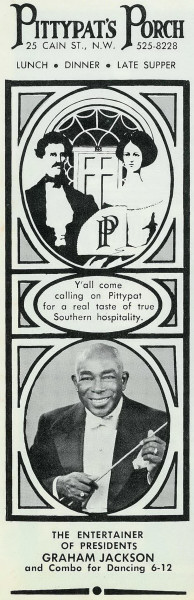 A 1968 ad for Pittypat's Porch, a restaurant that still exists today. Photo source: Atlanta Time Machine.