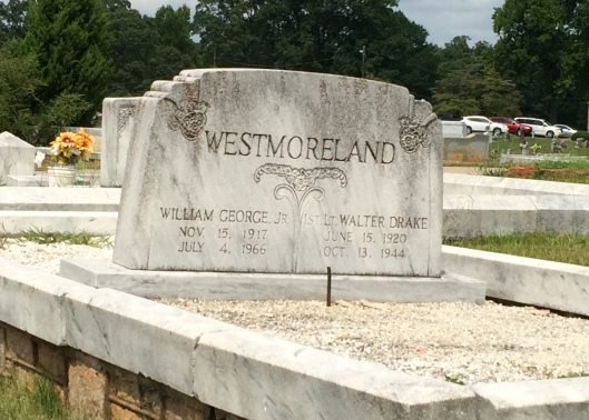 Lt. Walter Drake Westmoreland is buried beside his older brother, William George Westmoreland, Jr.
