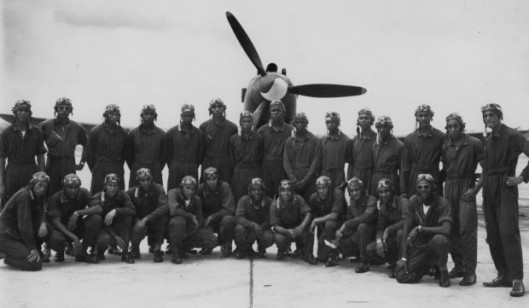 Class 43-G graduated from flight training on July 28, 1943, at Tuskegee Army Air Field in Alabama. Lt. Westmoreland is on the front row, third from the end of the left side. Photo source: U.S. Air Force Historical Research Agency