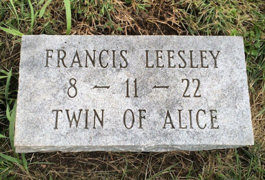 Francis Leesley died as an infant but his twin, Alice, lived to the age of 87.
