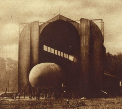 An airship being taken out of its hangar in 1919 at Fort Omaha.
