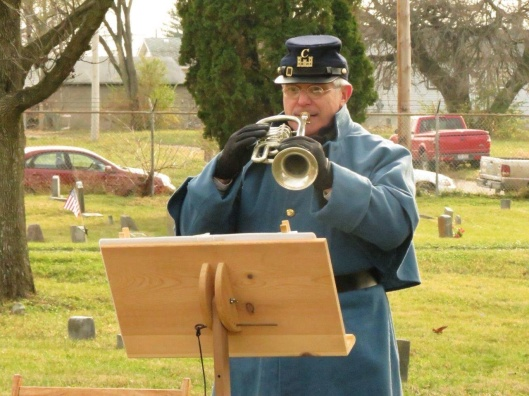 A bugler from the Sonds of Union Veterans of the Civil War, Sherman Camp, plays at the Veterans' Day rededication ceremony at Old Greencastle Cemetery in Dayton. I was invited to attend as a special guest but was unable to do so.