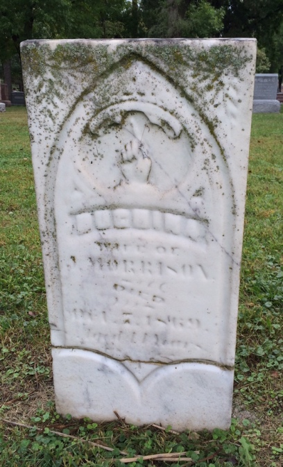 "Hughina Morrison was buried in Wyuka the year it opened in 1869. A carved hand on her gravestone points skyward toward a nearly illegible inscription that originally read ""Gone Home."""