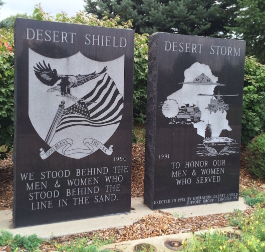 On the east side of the road beside Section 42 are two black granite monuments commemorating those who served in Desert Shield and Desert Storm, the U. S. military actions against Iraq in 1990 and 1991. The monuments were added in 1992.