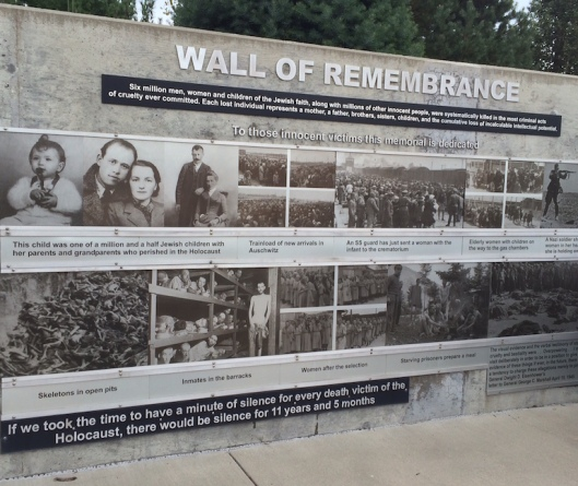 The Wall of Remembrance of Wyuka's Holocaust Memorial is a brutal but honest representation of the history of this tragic time.