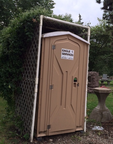 It may not be much but this portable toilet was a welcome sight after a few hours of cemetery hopping.
