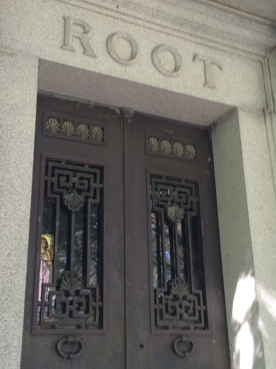 The door of the Root mausoleum.