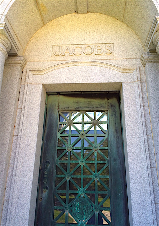 This is the door to the Jacobs mausoleum. You can glimpse the face on the front of it.
