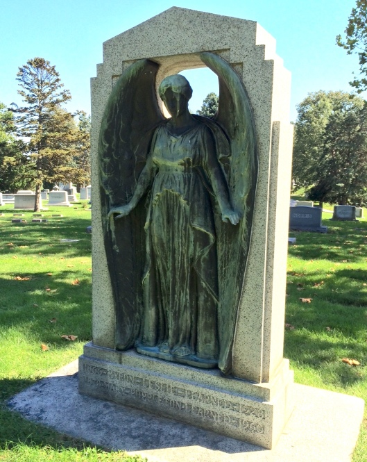 This bronze angel was made for Myron and Mary Learned by Nellie V. Walker, a noted Chicago sculptor.