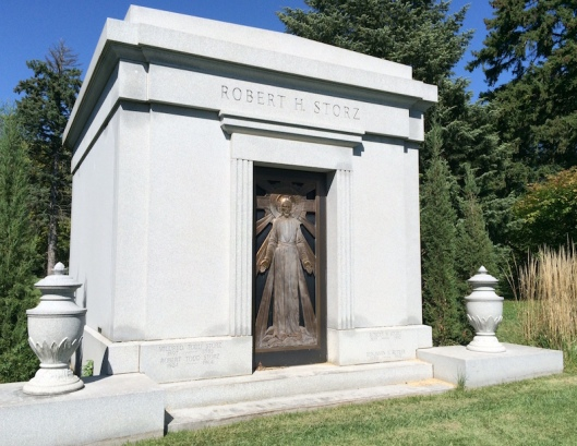 The second Storz mausoleum is more modern in style but the effort to make the door look unique is shared.