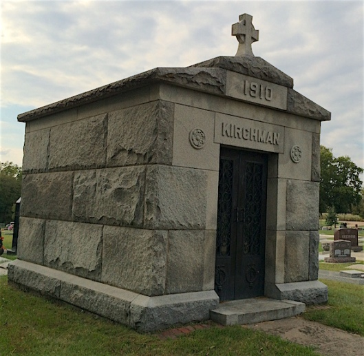 The Kirchman mausoleum is the only one in St. Francis or Sunrise Cemeteries.
