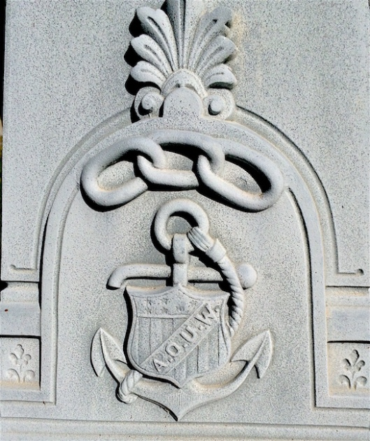 William Strop's monument has both the symbol of the Independent Order of Odd Fellows and the Ancient Order of United Workman (AOUW).