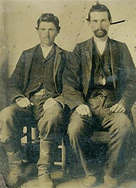 Tintype of Robert Ford (left) with his partner in crime, Jesse James. Photo source: Sandy Mills