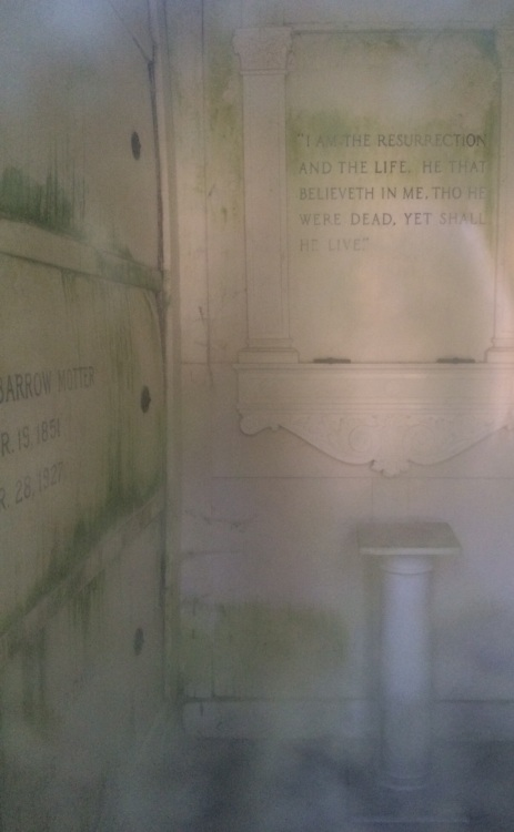 This was the best picture I could get of the interior of the Motter Mausoleum.