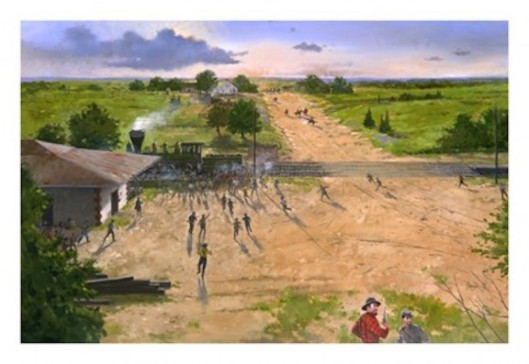 "The Battle of Brown's Mill started at the Newnan Broad Street Depot in July 1864. (""Depot"" by Martin Pate. Photo source: Newnan-Coweta Historical Society)"