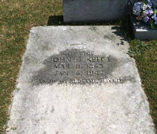 John Keith, buried beside his wife Sarah, died some years after he lost his arm.