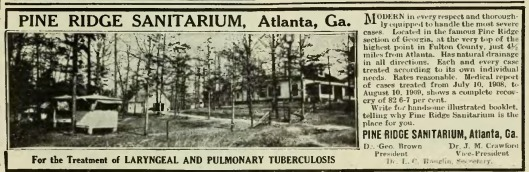 Pine Ridge was one of many sanitariums in operation during the turn of the century for the treatment of Tuberculosis patients.