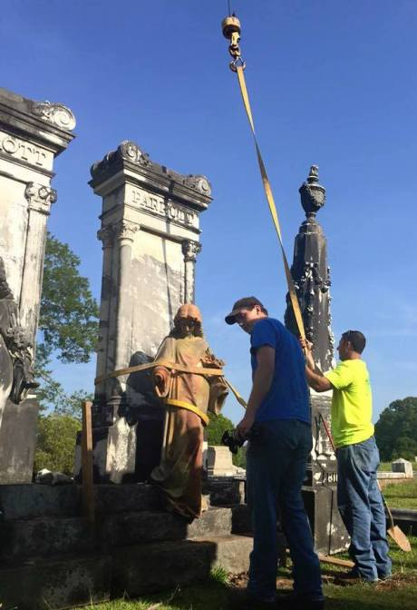 In November, the fallen Parrott angel was put back on her feet and cleaned. Photo source: Friends of Oak Hill Facebook page.
