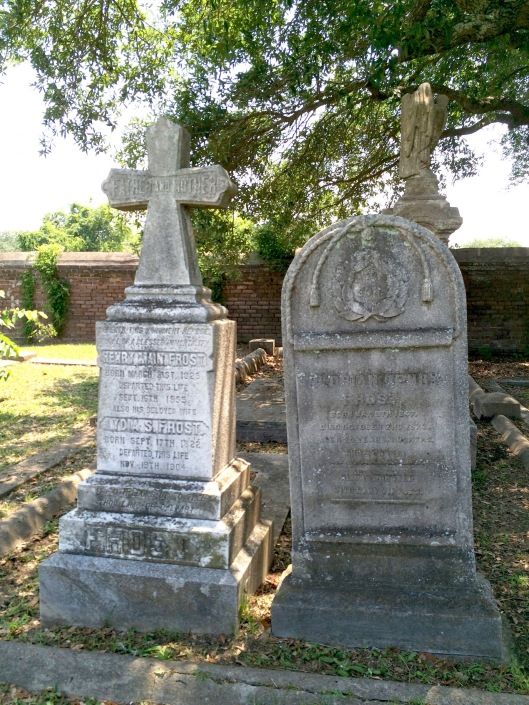 To the left is the monument to Henry Maine Frost and his wife, Lydia Storman Frost. She was a rare woman in that she was a Free Person of Color who owned slaves. Their son, Florian, is buried to the right of them.