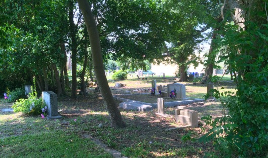 A back view of Lewis Christian Cemetery through Friendly Union Cemetery.