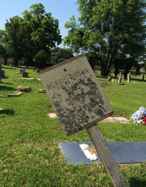 The Morris Brown AME Cemetery sign had seen better days.