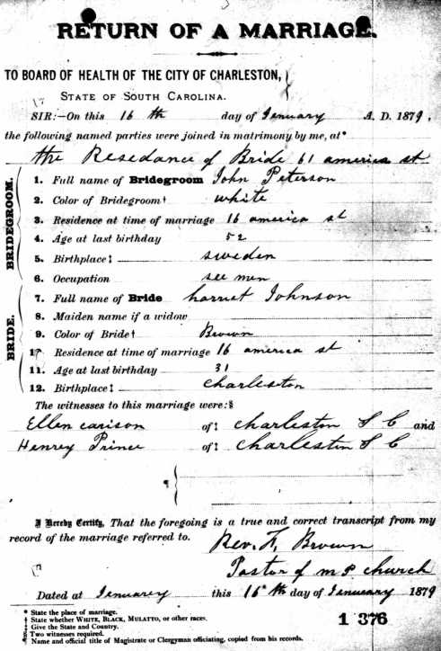 Captain John Peterson married Harriett Johnson in January 1879.