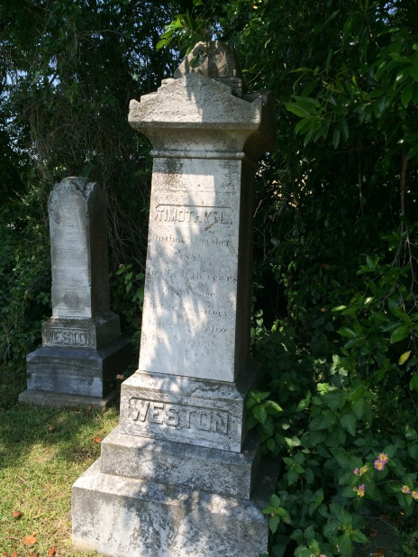 In the foreground is the monument for Timothy Weston, who died at the age of 45. His father, whose monument is in the background, was the Rev. Samuel Weston, a prominent African Methodist Episcopal minister.