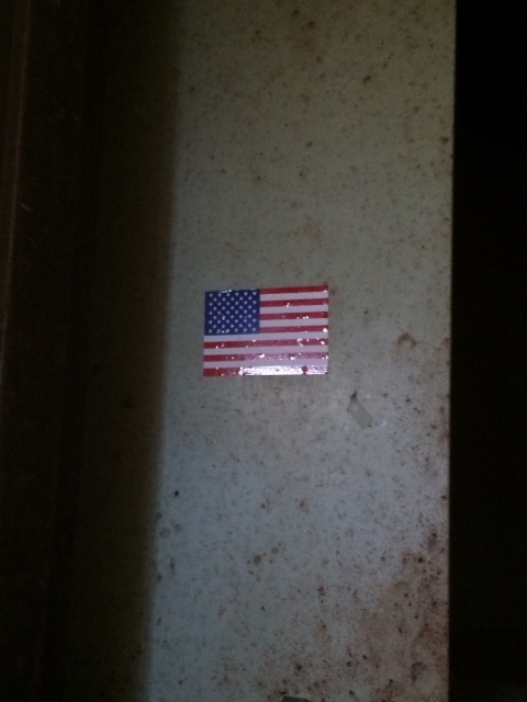 American flag on a moldy wall.