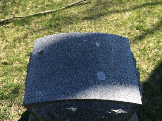 This is a poor quality photo of Marion Zink's grave marker. Head injuries sent him to the NRC.