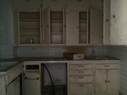 This might have been used as a medication storage room or was a nursing station. The mold was apparent.