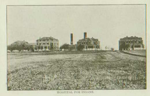 Photo courtesy of Photo of four buildings for the Norfolk State Hospital for the Insane. Photo source: Elkhorn Valley Museum and Research Center, Norfolk, Nebraska.