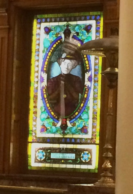 This is a photo I took of a stained glass window of Emily Griffith at the Denver Capitol building. I saw it when we were taking a tour, before my visit to Fairmont, not knowing who she was.