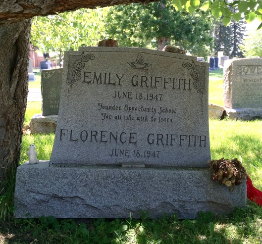 Emily and Florence Griffith rest in peace beneath a tree in Fairmount Cemetery.