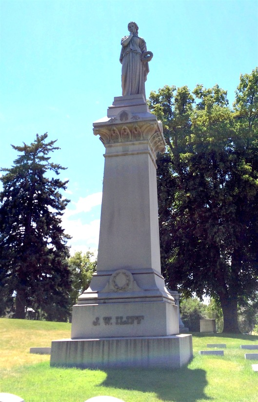 The 65-ton Iliff monument was originally installed at Riverside Cemetery but was moved in 1920 when John Iliff's daughter Louise had his remains taken to Fairmount for re-interrment.