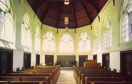 This photo of the Little Ivy Chapel's interior comes from Fairmount's Web site.