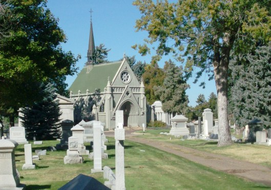 The Little Ivy Chapel at Fairmount was built when the cemetery opened in 1890. It's a good example of 13th-century Ecclesiastical High French Gothic Revival style and was designated a landmark by the City of Denver. Photo source: Wikimedia Commons.