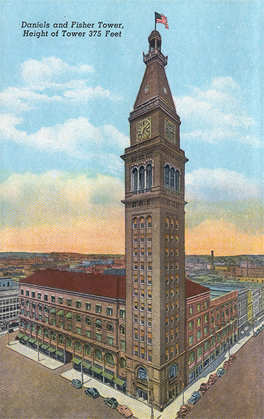 Postcard of the Daniels & Fisher Tower when it was the tallest building in Denver.