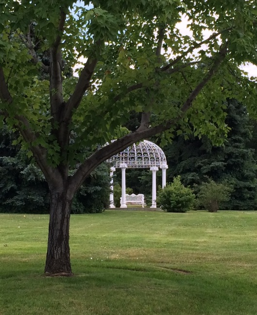 Fairmount's Rose Gazebo is a lovely spot to meditate. Fairmount boasts 59 different species of roses on its grounds.