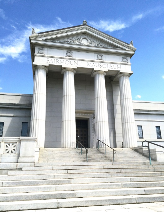 Exterior view of the Fairmount Mausoleum entrance.