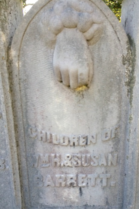 As seen on the Bridwell Monument last week, a hand reaches down from the clouds to indicate an unexpected death.