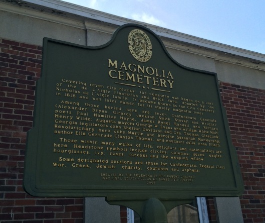 This sign details some of the origins of Magnolia Cemetery.