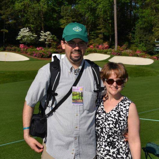 My husband and me at the 2011 Masters practice round in Augusta, A.