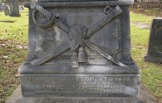The base of Frank Middleton Stovall's monument features the cross sword and scabbard draped with tassles, a motif often seen on Civil War markers.